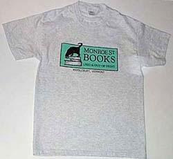Gray T shirt with Monroe Street Books logo.